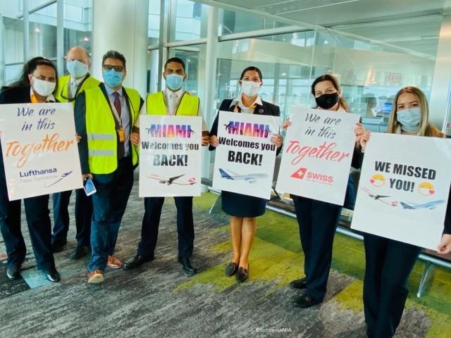 Empfang des ersten Lufthansa-Flugzeugs in Miami nach dem Lockdown