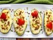 Doppelt gebackene Kartoffeln mit Paprikaherz (Foto © Chris Peterson/Just A Pinch)