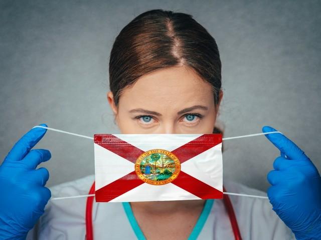Gesichtsmaske mit floridianischer Flagge