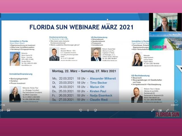 Die Referenten der Florida-Sun-Webinare 2021