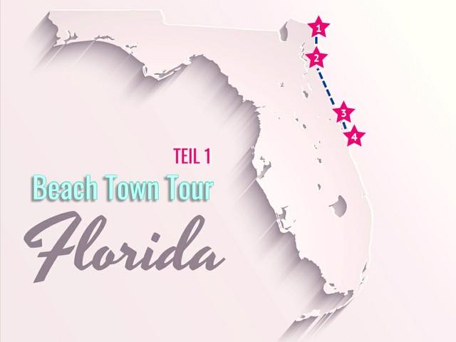 Beach-Town-Touren in Florida (1): Von Fernandina Beach bis Cocoa - Karte